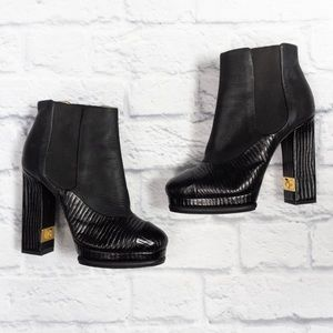 CHANEL Black Wax Suede Calf Leather Ankle Boots